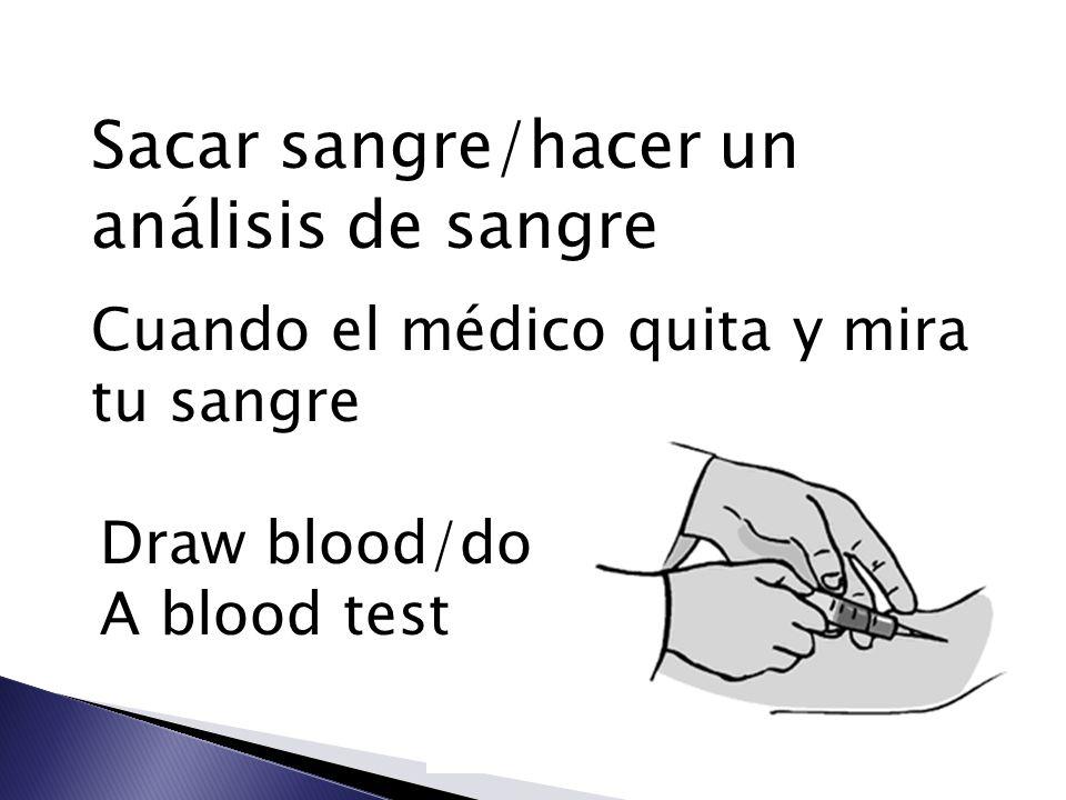 Sacar sangre/hacer un análisis de sangre Cuando el médico quita y mira tu sangre Draw blood/do A blood test