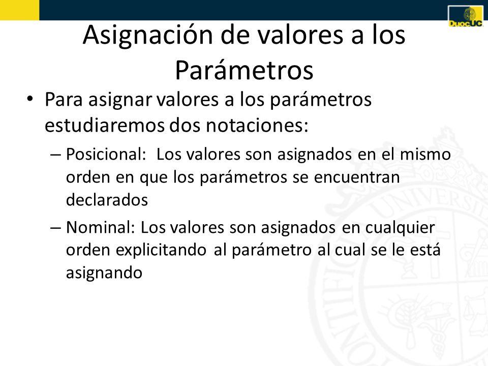 Asignación de valores a los Parámetros Para asignar valores a los parámetros estudiaremos dos notaciones: – Posicional: Los valores son asignados en el mismo orden en que los parámetros se encuentran declarados – Nominal: Los valores son asignados en cualquier orden explicitando al parámetro al cual se le está asignando