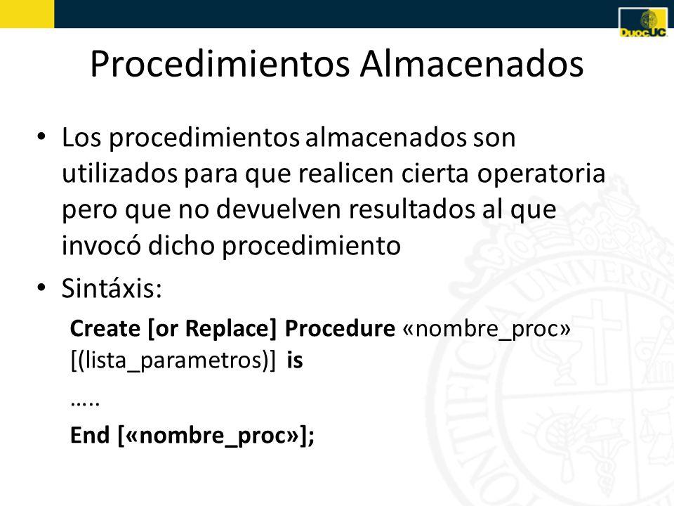 Procedimientos Almacenados Los procedimientos almacenados son utilizados para que realicen cierta operatoria pero que no devuelven resultados al que invocó dicho procedimiento Sintáxis: Create [or Replace] Procedure «nombre_proc» [(lista_parametros)] is …..