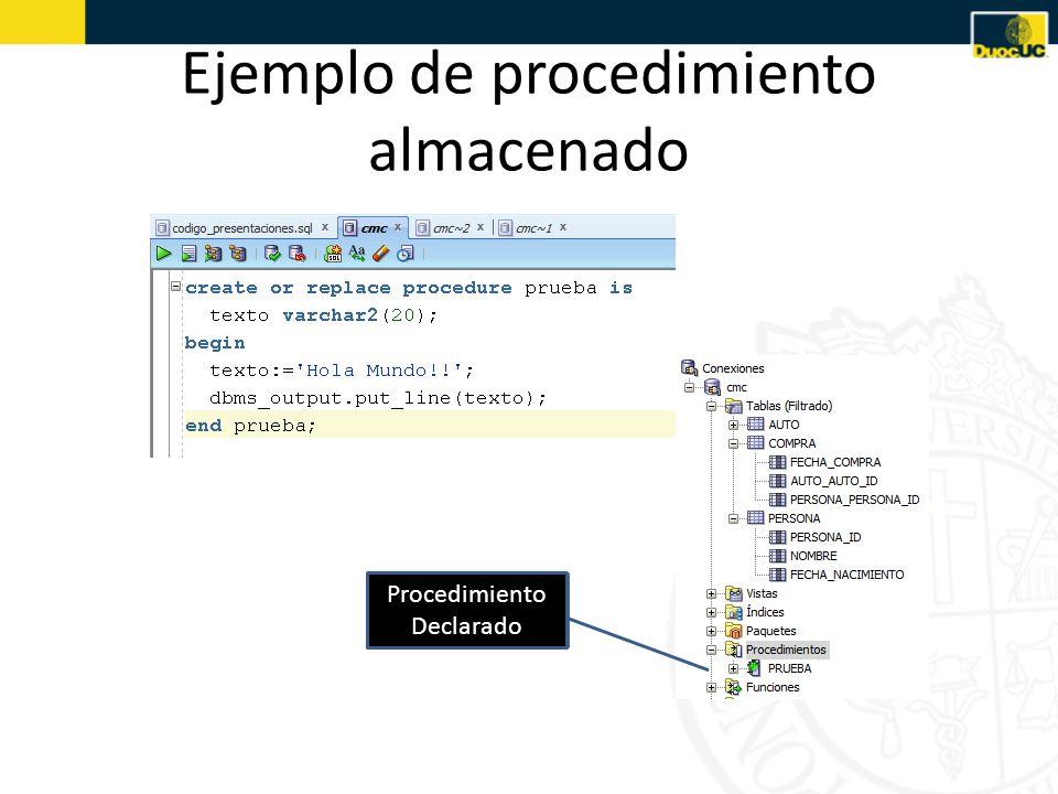 Ejemplo de procedimiento almacenado Procedimiento Declarado