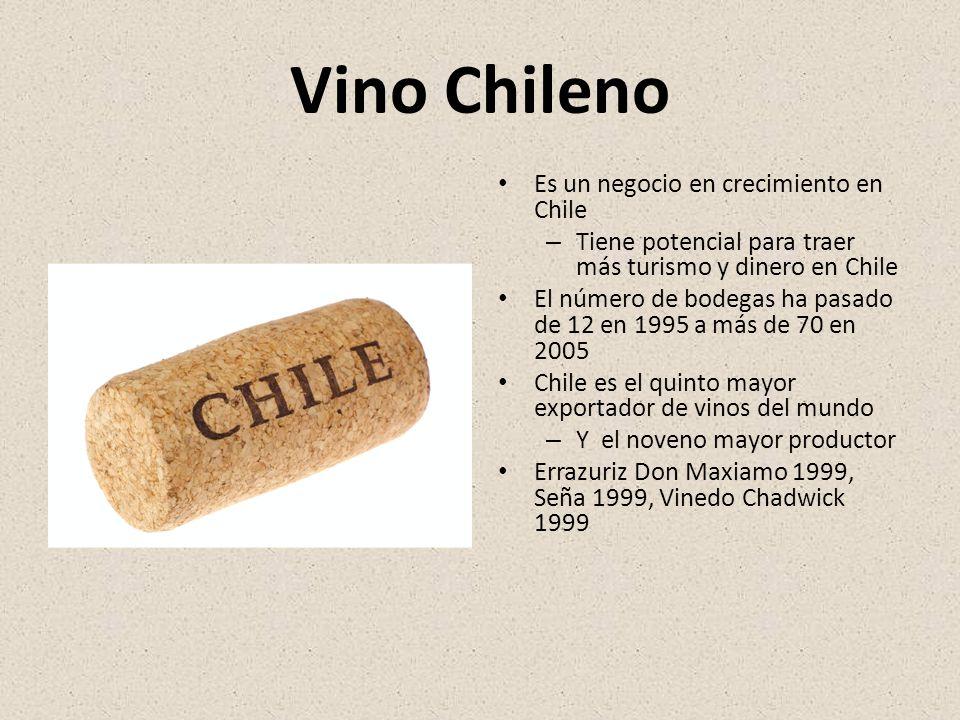 Vino Chileno Es un negocio en crecimiento en Chile – Tiene potencial para traer más turismo y dinero en Chile El número de bodegas ha pasado de 12 en 1995 a más de 70 en 2005 Chile es el quinto mayor exportador de vinos del mundo – Y el noveno mayor productor Errazuriz Don Maxiamo 1999, Seña 1999, Vinedo Chadwick 1999