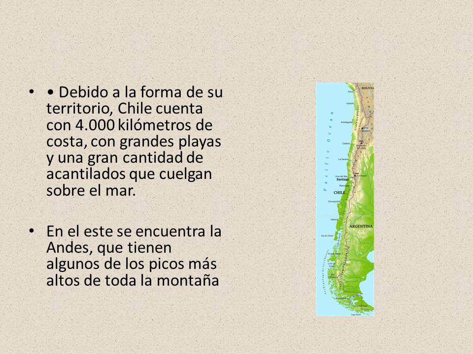 Debido a la forma de su territorio, Chile cuenta con 4.000 kilómetros de costa, con grandes playas y una gran cantidad de acantilados que cuelgan sobre el mar.