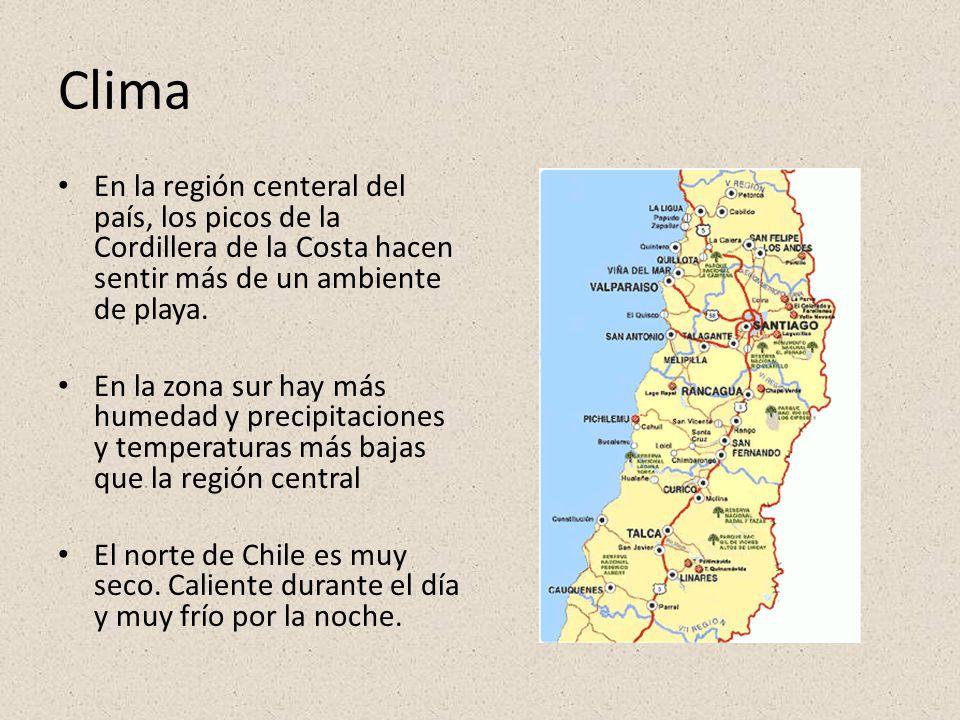 Clima En la región centeral del país, los picos de la Cordillera de la Costa hacen sentir más de un ambiente de playa.