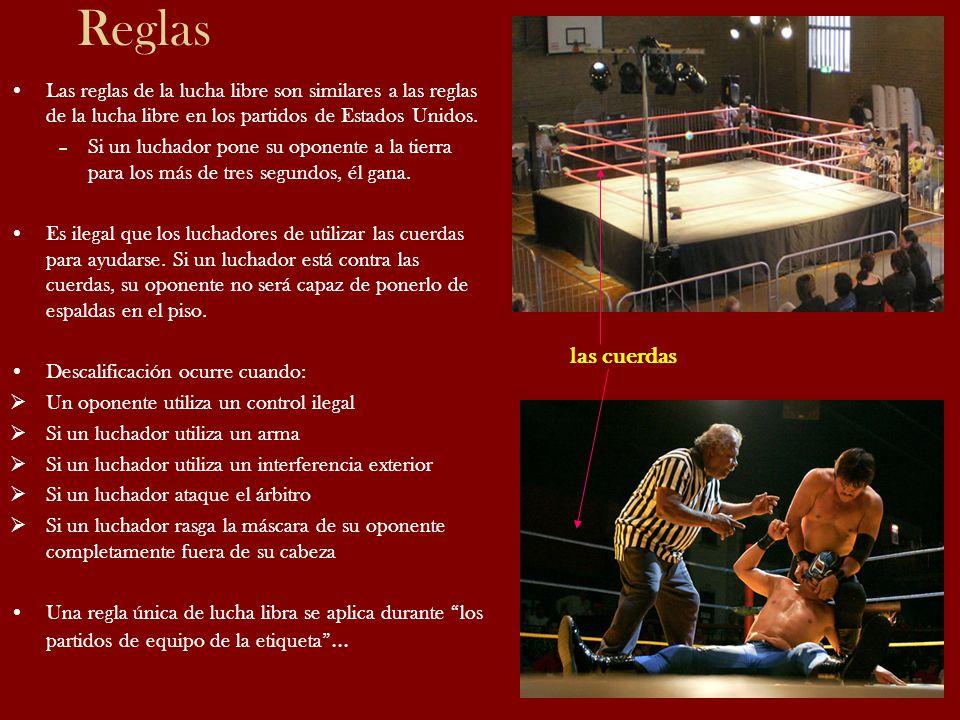 Reglas Las reglas de la lucha libre son similares a las reglas de la lucha libre en los partidos de Estados Unidos. –Si un luchador pone su oponente a