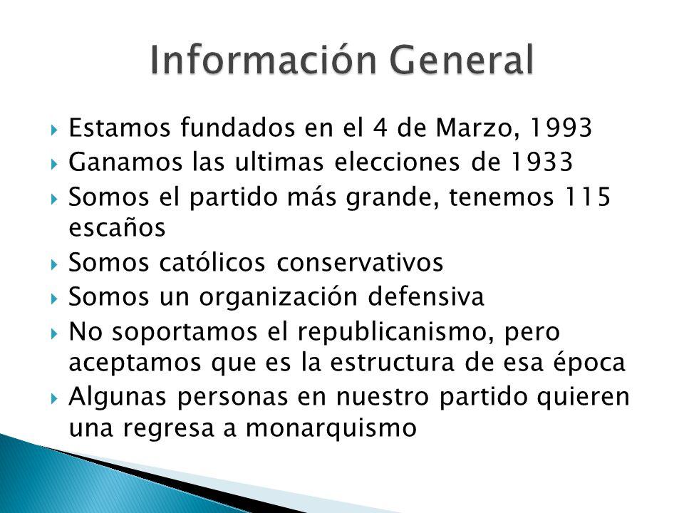 Estamos fundados en el 4 de Marzo, 1993 Ganamos las ultimas elecciones de 1933 Somos el partido más grande, tenemos 115 escaños Somos católicos conser