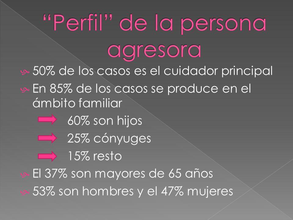 50% de los casos es el cuidador principal En 85% de los casos se produce en el ámbito familiar 60% son hijos 25% cónyuges 15% resto El 37% son mayores de 65 años 53% son hombres y el 47% mujeres