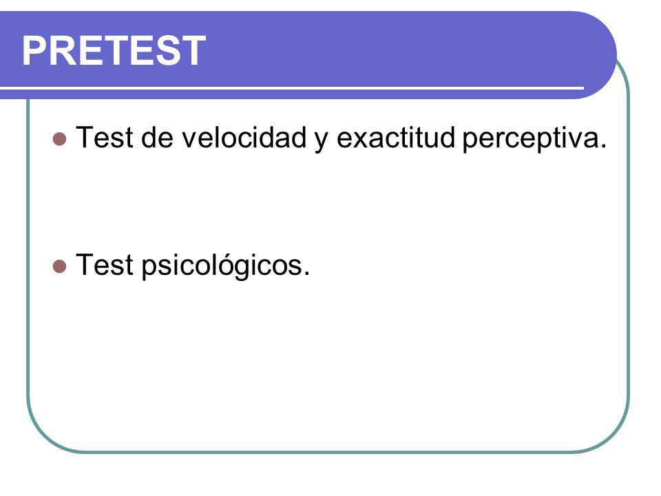 Test de velocidad y exactitud perceptiva. Test psicológicos. PRETEST