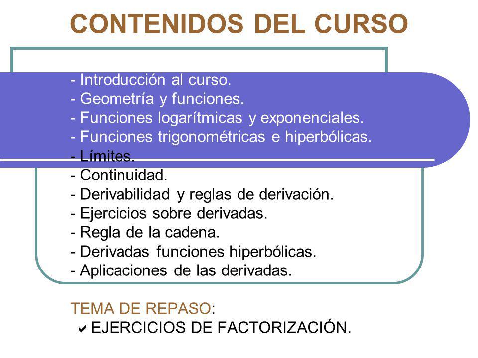 CONTENIDOS DEL CURSO - Introducción al curso. - Geometría y funciones. - Funciones logarítmicas y exponenciales. - Funciones trigonométricas e hiperbó