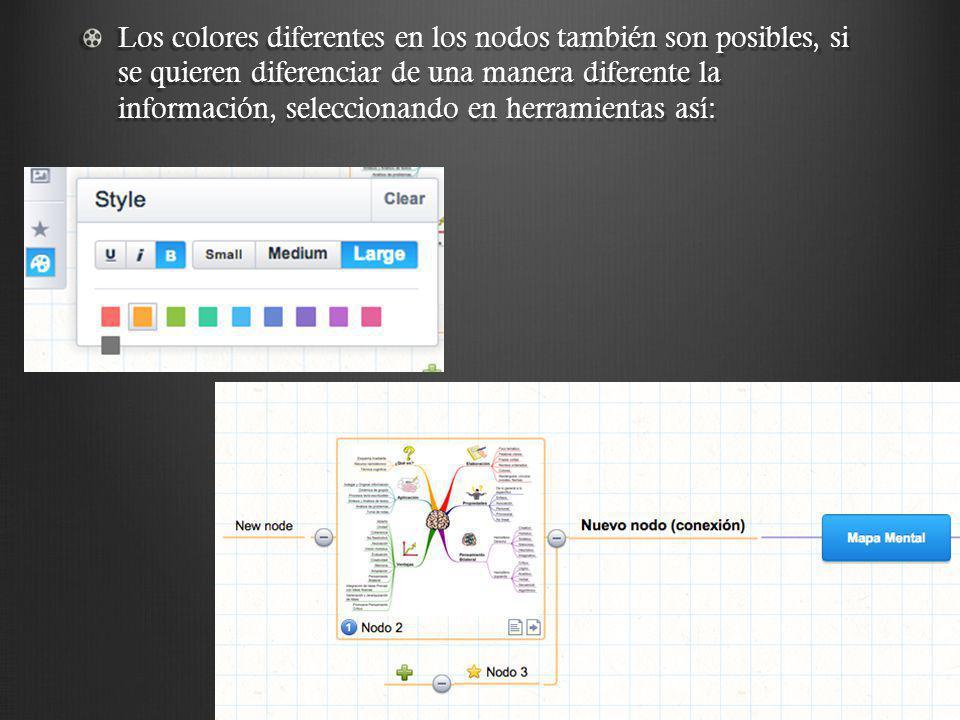 Los colores diferentes en los nodos también son posibles, si se quieren diferenciar de una manera diferente la información, seleccionando en herramien