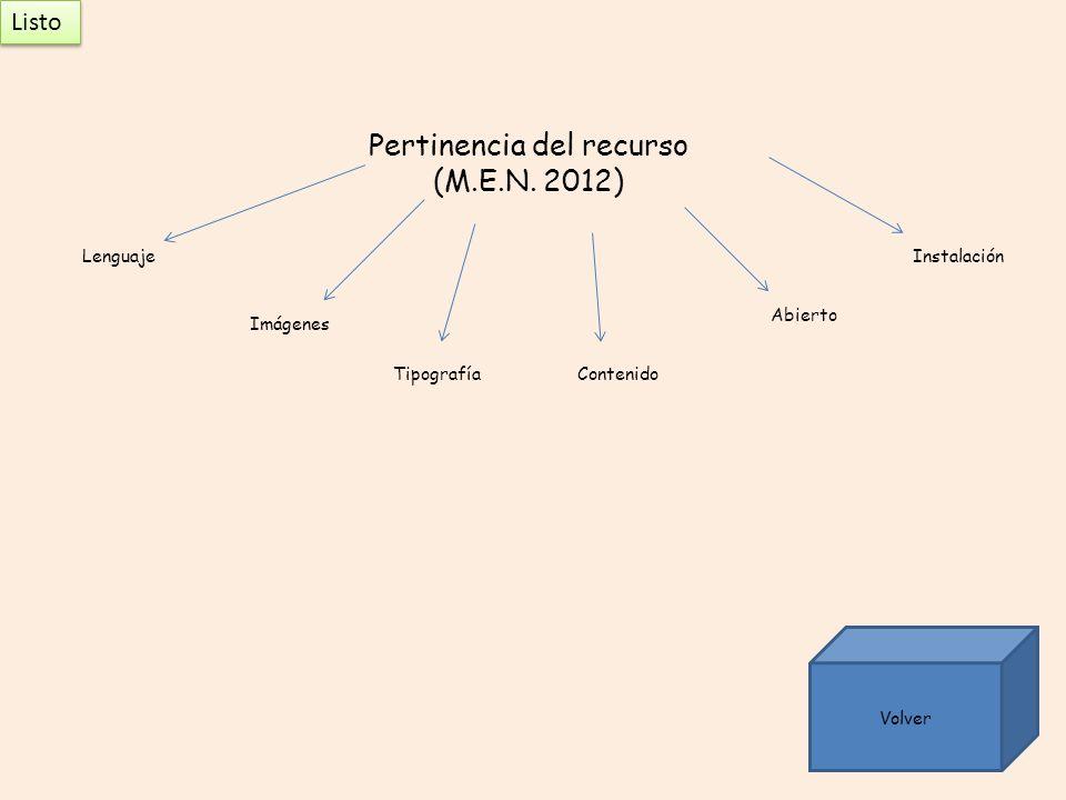 Pertinencia del recurso (M.E.N. 2012) Abierto Lenguaje Tipografía Imágenes Contenido Instalación Volver Listo Listo