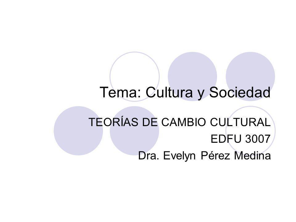 Tema: Cultura y Sociedad TEORÍAS DE CAMBIO CULTURAL EDFU 3007 Dra. Evelyn Pérez Medina