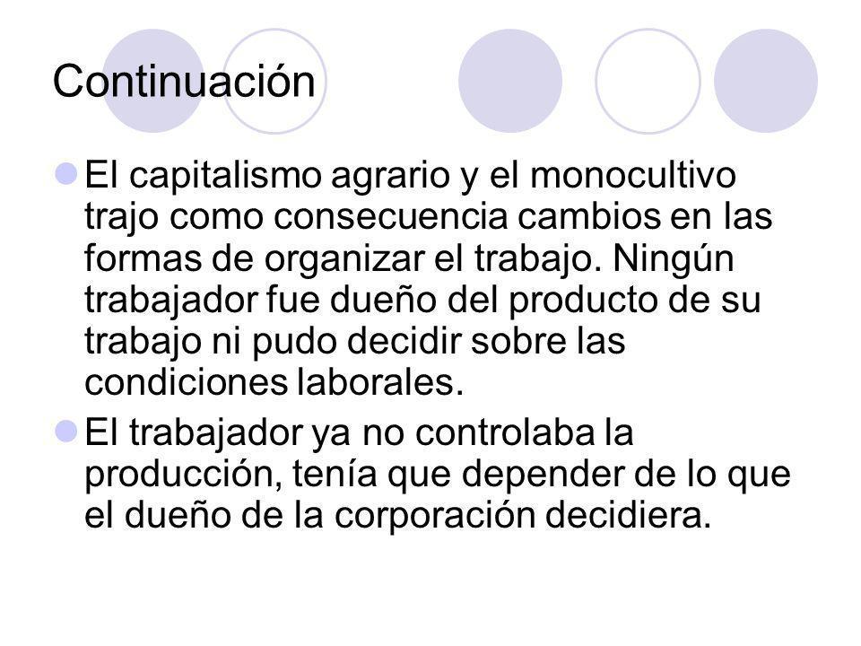 Continuación El capitalismo agrario y el monocultivo trajo como consecuencia cambios en las formas de organizar el trabajo.