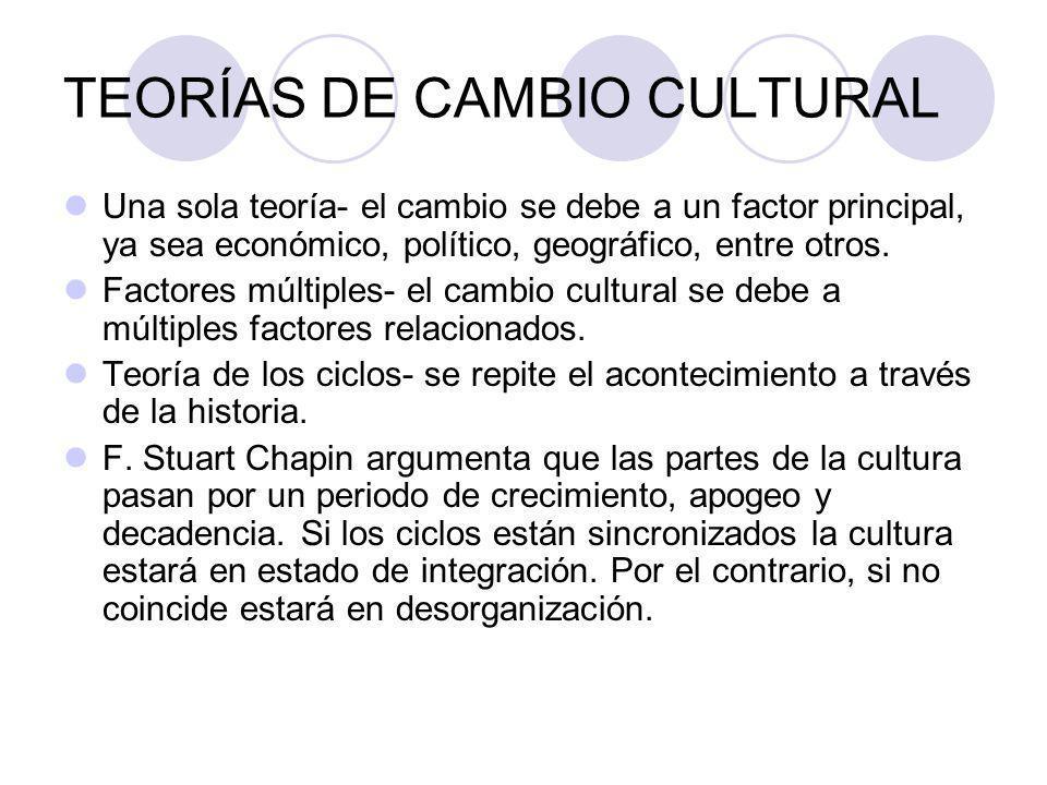 TEORÍAS DE CAMBIO CULTURAL Una sola teoría- el cambio se debe a un factor principal, ya sea económico, político, geográfico, entre otros.