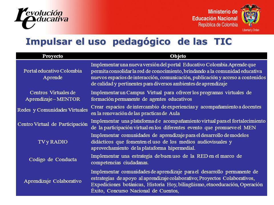 Impulsar el uso pedagógico de las TIC ProyectoObjeto Portal educativo Colombia Aprende Implementar una nueva versión del portal Educativo Colombia Apr
