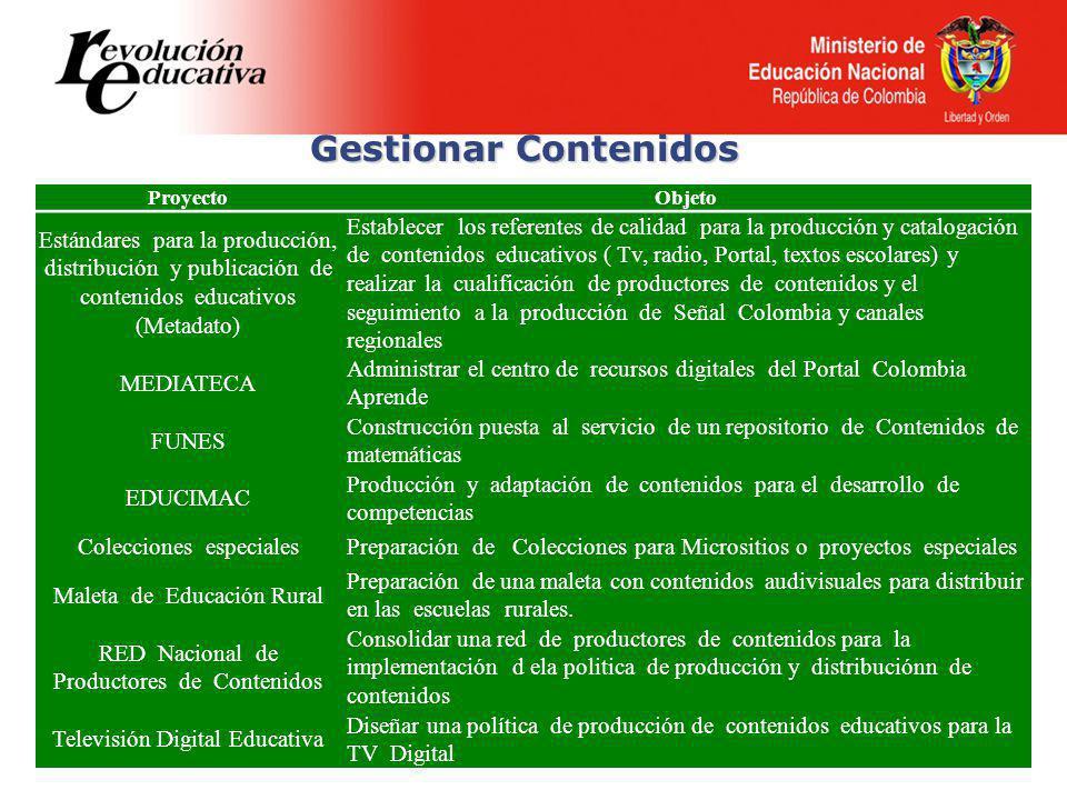 Gestionar Contenidos ProyectoObjeto Estándares para la producción, distribución y publicación de contenidos educativos (Metadato) Establecer los referentes de calidad para la producción y catalogación de contenidos educativos ( Tv, radio, Portal, textos escolares) y realizar la cualificación de productores de contenidos y el seguimiento a la producción de Señal Colombia y canales regionales MEDIATECA Administrar el centro de recursos digitales del Portal Colombia Aprende FUNES Construcción puesta al servicio de un repositorio de Contenidos de matemáticas EDUCIMAC Producción y adaptación de contenidos para el desarrollo de competencias Colecciones especialesPreparación de Colecciones para Micrositios o proyectos especiales Maleta de Educación Rural Preparación de una maleta con contenidos audivisuales para distribuir en las escuelas rurales.