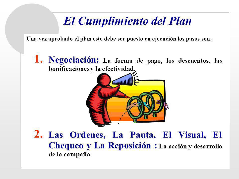 El Cumplimiento del Plan Una vez aprobado el plan este debe ser puesto en ejecución los pasos son: 1. Negociación: La forma de pago, los descuentos, l