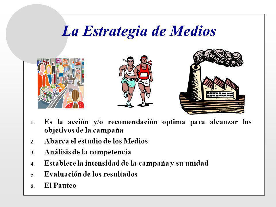 La Estrategia de Medios 1. Es la acción y/o recomendación optima para alcanzar los objetivos de la campaña 2. Abarca el estudio de los Medios 3. Análi