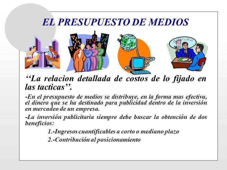 EL PRESUPUESTO DE MEDIOS La relacion detallada de costos de lo fijado en las tacticas. -En el presupuesto de medios se distribuye, en la forma mas efe
