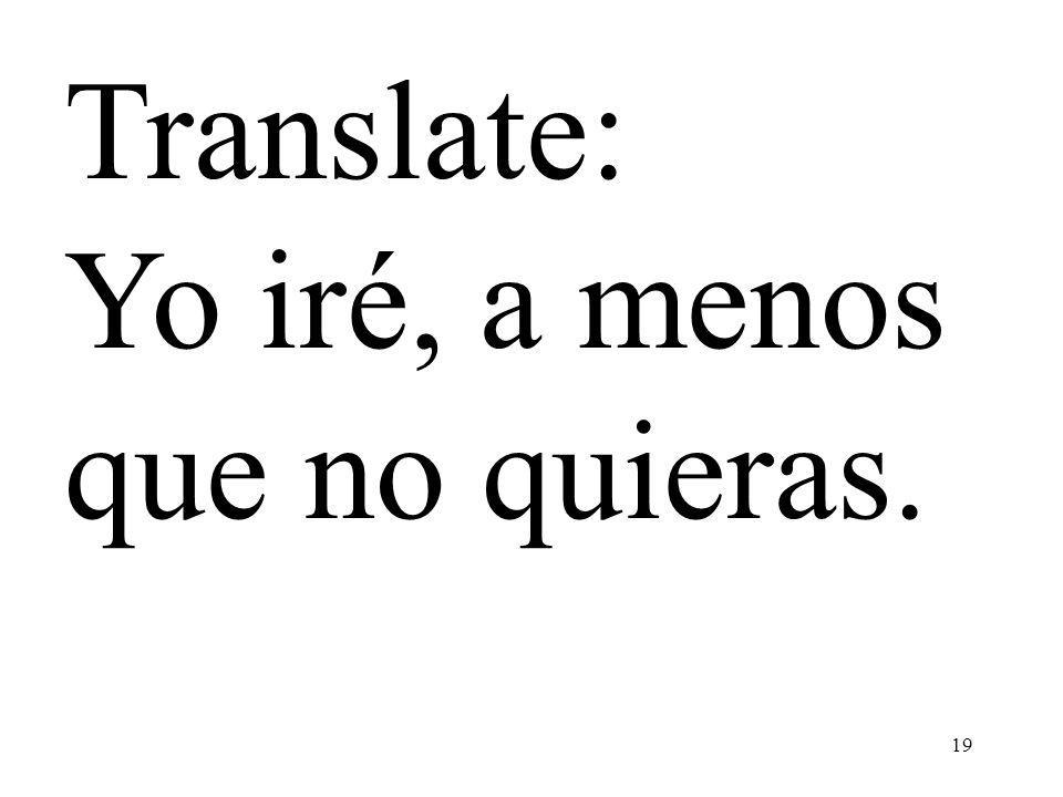 19 Translate: Yo iré, a menos que no quieras.