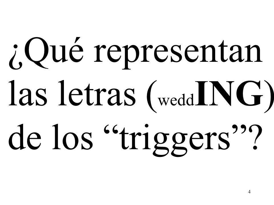 4 ¿Qué representan las letras ( wedd ING) de los triggers?