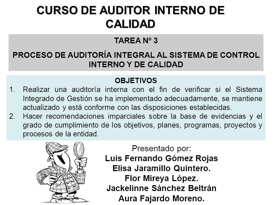 CURSO DE AUDITOR INTERNO DE CALIDAD TAREA Nº 3 PROCESO DE AUDITORÍA INTEGRAL AL SISTEMA DE CONTROL INTERNO Y DE CALIDAD Presentado por: Luis Fernando Gómez Rojas Elisa Jaramillo Quintero.