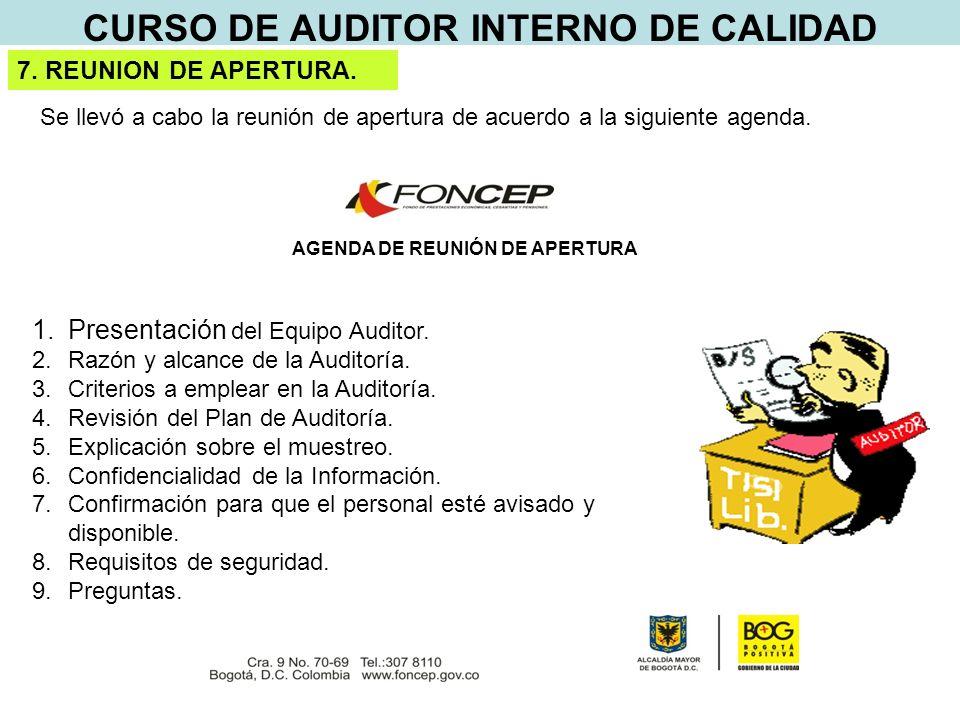 CURSO DE AUDITOR INTERNO DE CALIDAD AGENDA DE REUNIÓN DE APERTURA 1.Presentación del Equipo Auditor.