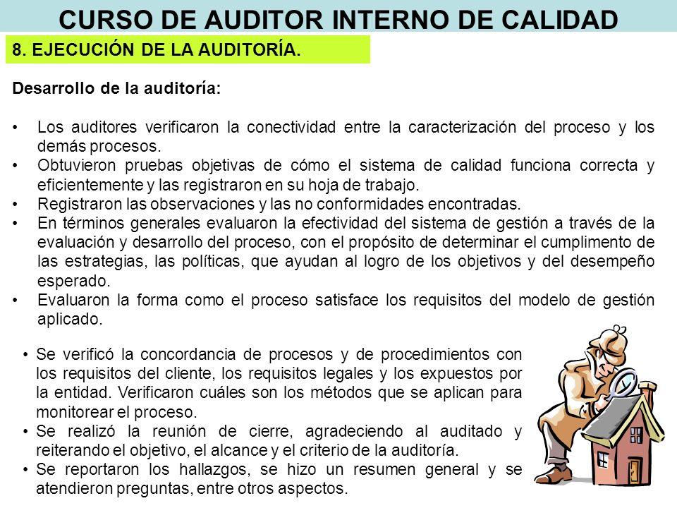 CURSO DE AUDITOR INTERNO DE CALIDAD Desarrollo de la auditoría: Los auditores verificaron la conectividad entre la caracterización del proceso y los demás procesos.