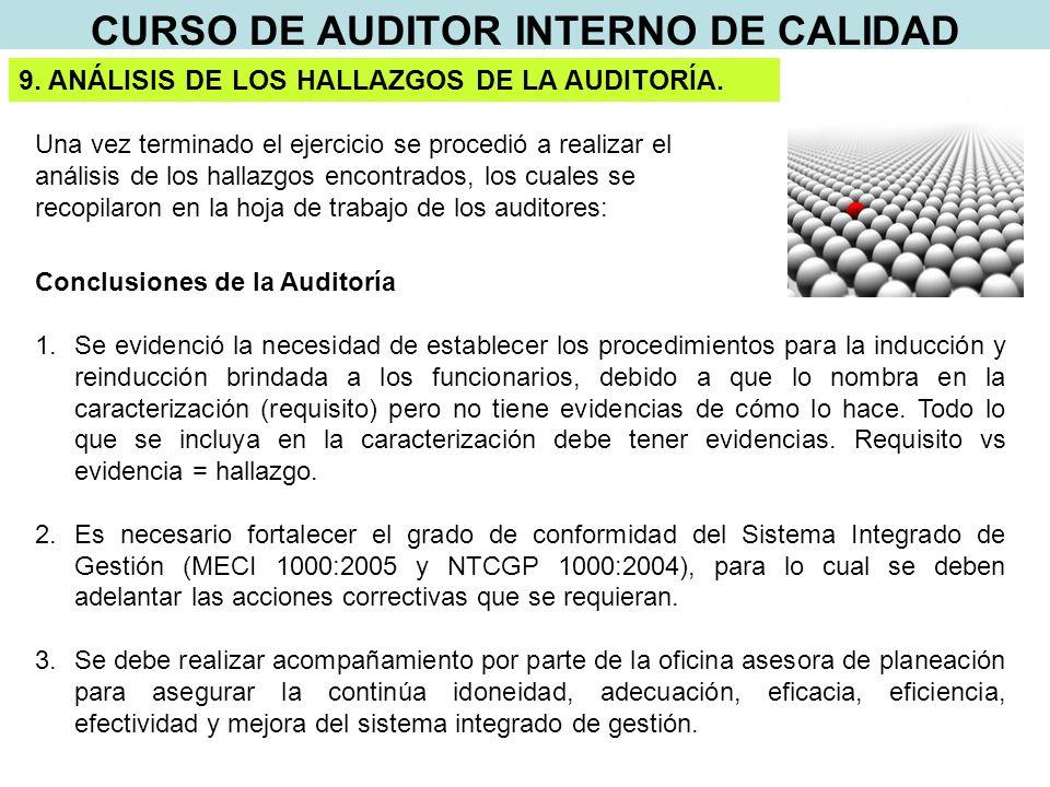 CURSO DE AUDITOR INTERNO DE CALIDAD 9. ANÁLISIS DE LOS HALLAZGOS DE LA AUDITORÍA.
