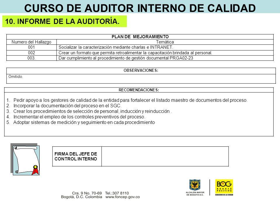 CURSO DE AUDITOR INTERNO DE CALIDAD 10. INFORME DE LA AUDITORÍA.