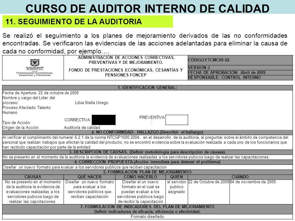 CURSO DE AUDITOR INTERNO DE CALIDAD 11.