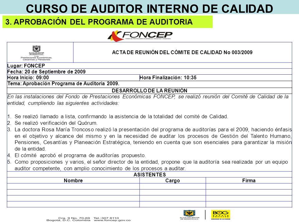 CURSO DE AUDITOR INTERNO DE CALIDAD 3.