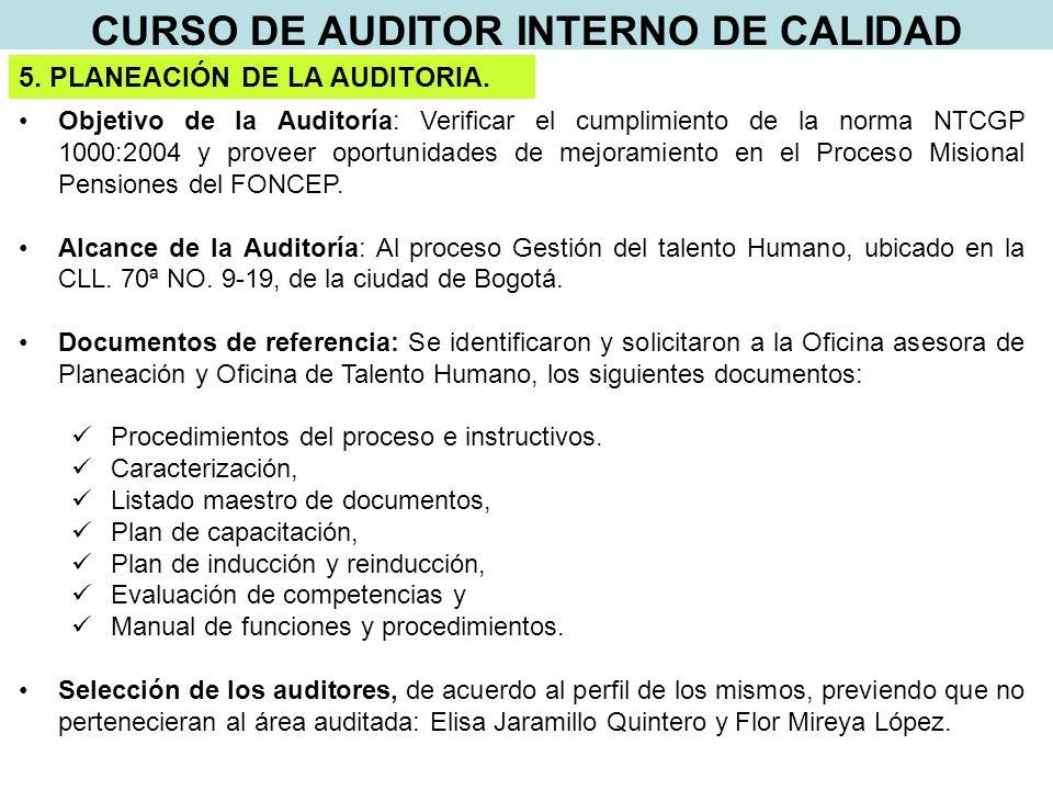 CURSO DE AUDITOR INTERNO DE CALIDAD 5. PLANEACIÓN DE LA AUDITORIA.