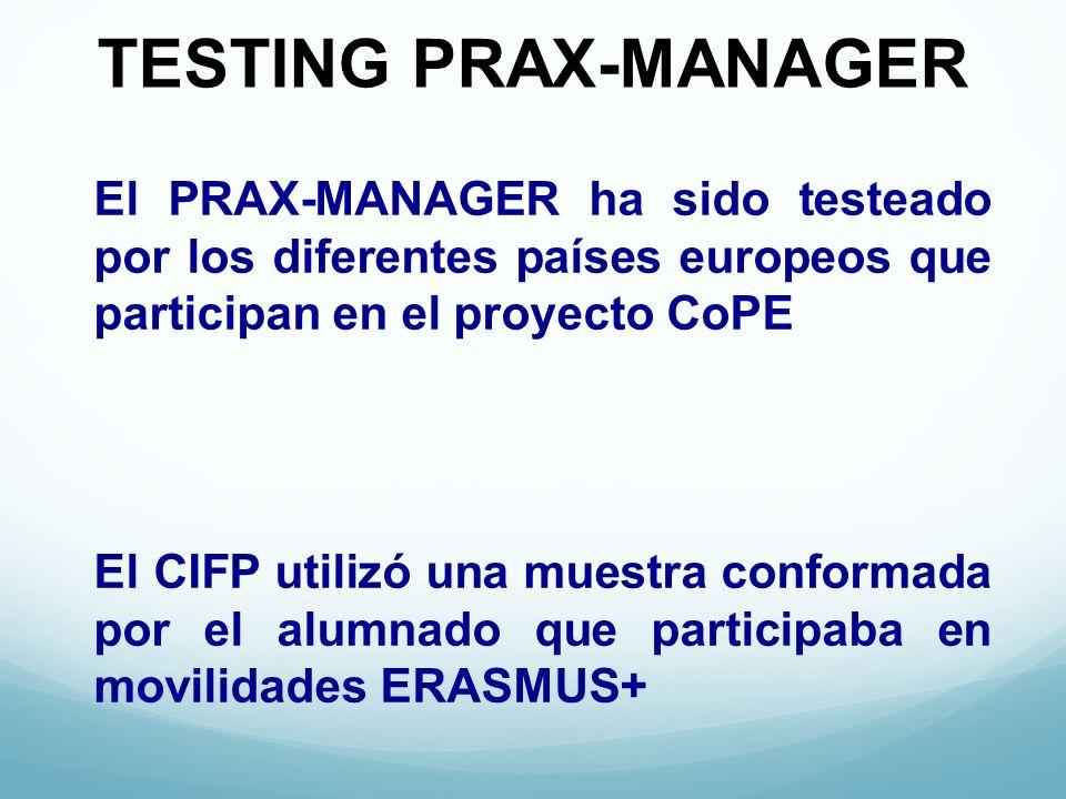 TESTING PRAX-MANAGER El PRAX-MANAGER ha sido testeado por los diferentes países europeos que participan en el proyecto CoPE El CIFP utilizó una muestra conformada por el alumnado que participaba en movilidades ERASMUS+