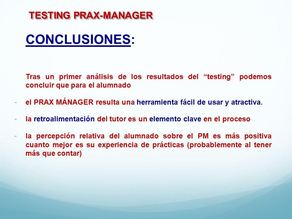 TESTING PRAX-MANAGER CONCLUSIONES: Tras un primer análisis de los resultados del testing podemos concluir que para el alumnado - el PRAX MÁNAGER resulta una herramienta fácil de usar y atractiva.