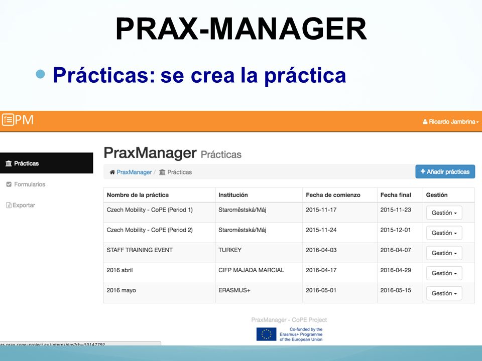 PRAX-MANAGER Prácticas: se crea la práctica