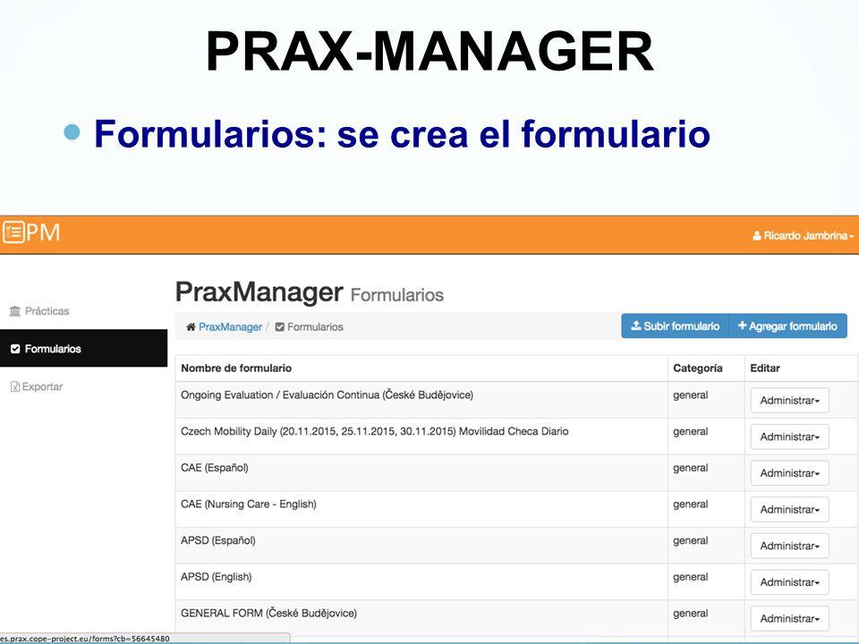 PRAX-MANAGER Formularios: se crea el formulario