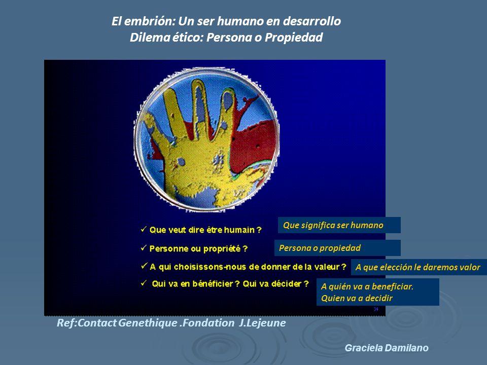 Graciela Damilano El embrión: Un ser humano en desarrollo Dilema ético: Persona o Propiedad Que significa ser humano Persona o propiedad A que elección le daremos valor A quién va a beneficiar.