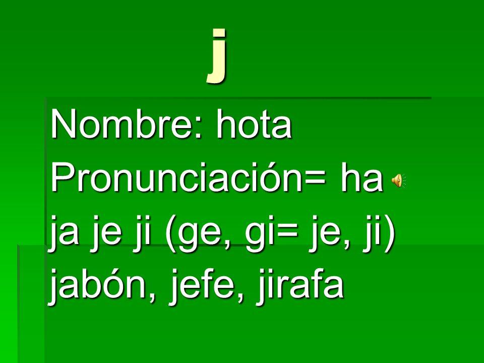 i Nombre: i Pronunciación= i iguana, idolo, idiota
