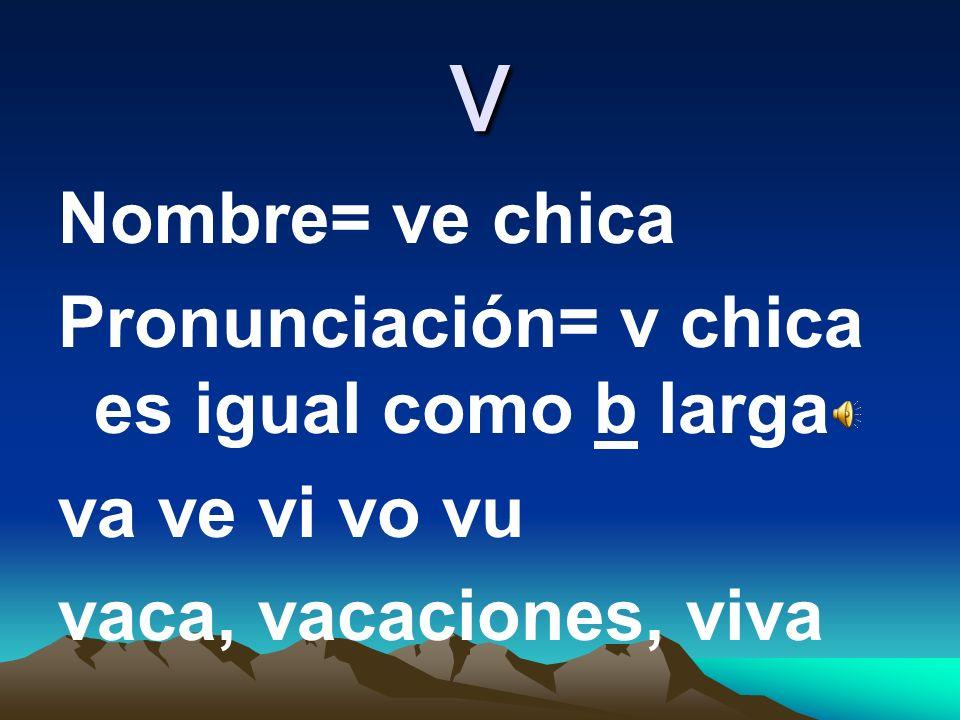 u Nombre: u Pronunciación= u unido, uvas,