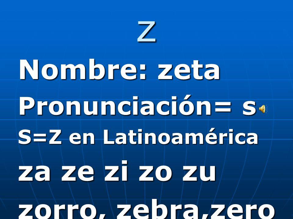 y Nombre: I griega Nombre: I griega Pronunciación= y Pronunciación= y ya ye yo yu y=ll en español Y= and y=ll en español Y= and Ejemplo: Soy inteligente y alto Al final de una palabra se pronuncia-muy,hoy, soy (i)