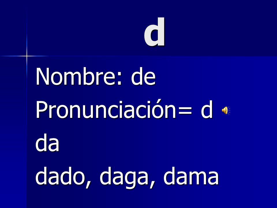 ch Nombre: che Pronunciación= ch cha chanco,chica, chau