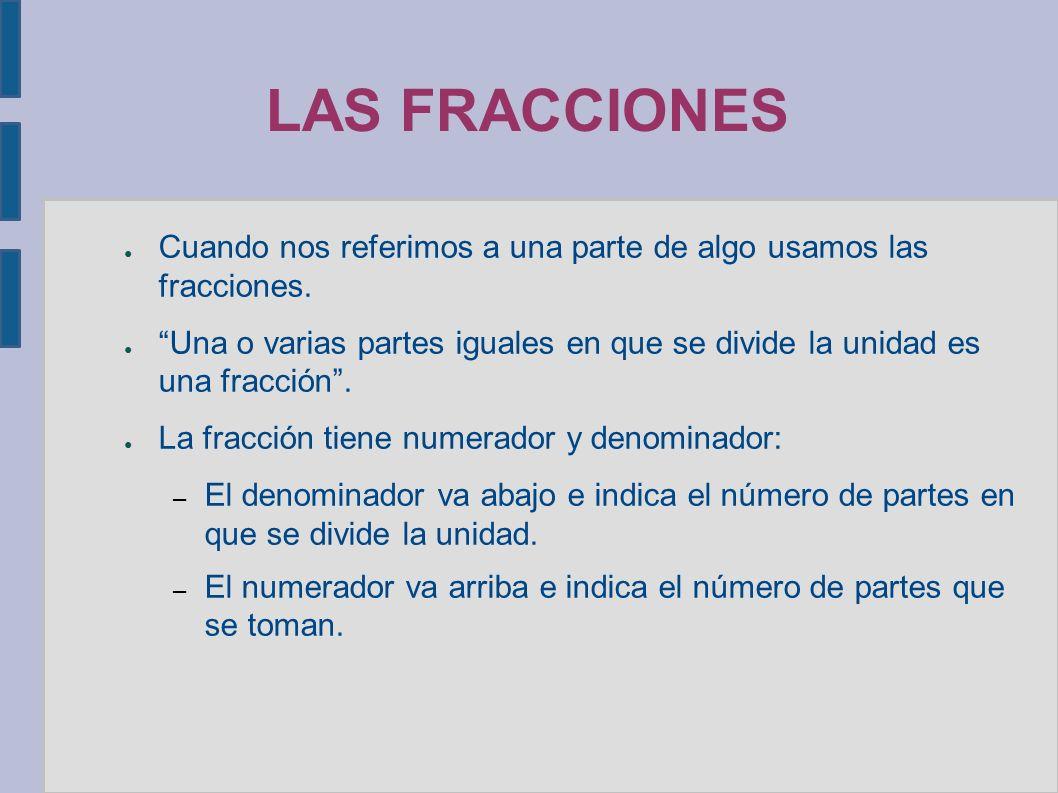 LAS FRACCIONES ● Cuando nos referimos a una parte de algo usamos las fracciones.