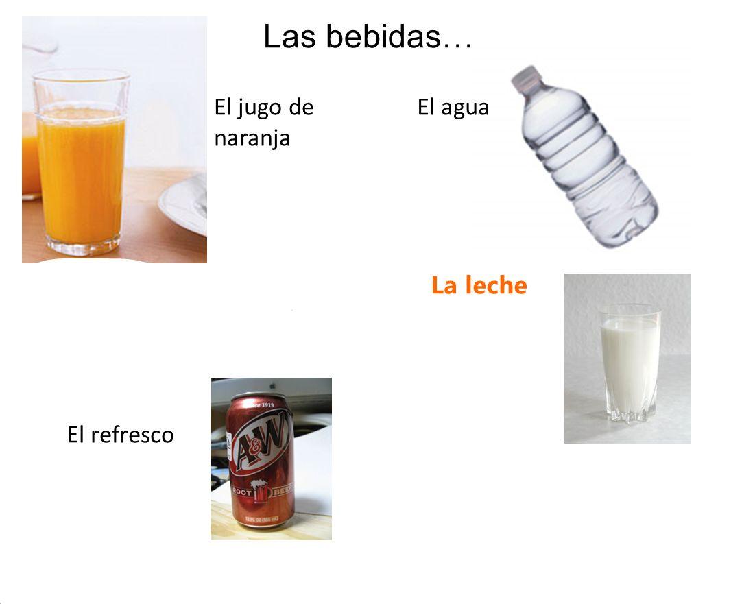 Un jugo de naranja La leche Las bebidas… Un refresco El jugo de naranja El agua El refresco