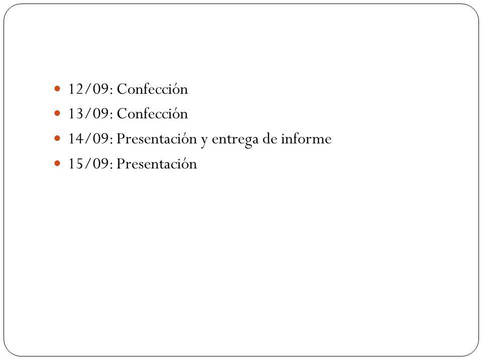 12/09: Confección 13/09: Confección 14/09: Presentación y entrega de informe 15/09: Presentación