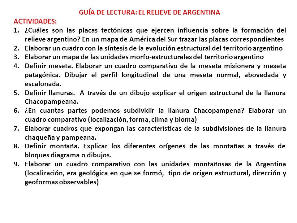GUÍA DE LECTURA: EL RELIEVE DE ARGENTINA ACTIVIDADES: 1.¿Cuáles son las placas tectónicas que ejercen influencia sobre la formación del relieve argentino.