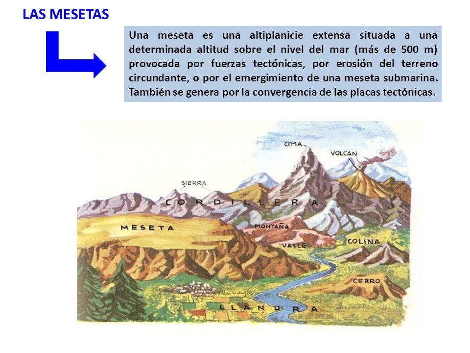 LAS MESETAS Una meseta es una altiplanicie extensa situada a una determinada altitud sobre el nivel del mar (más de 500 m) provocada por fuerzas tectónicas, por erosión del terreno circundante, o por el emergimiento de una meseta submarina.
