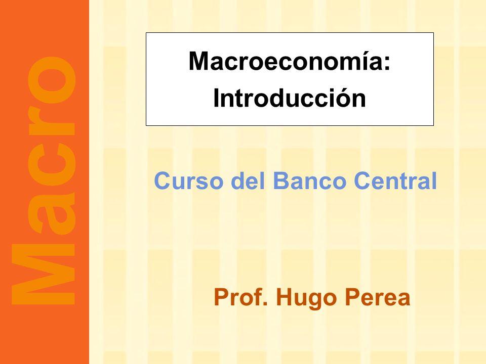 Curso del Banco Central Prof. Hugo Perea Macroeconomía: Introducción Macro