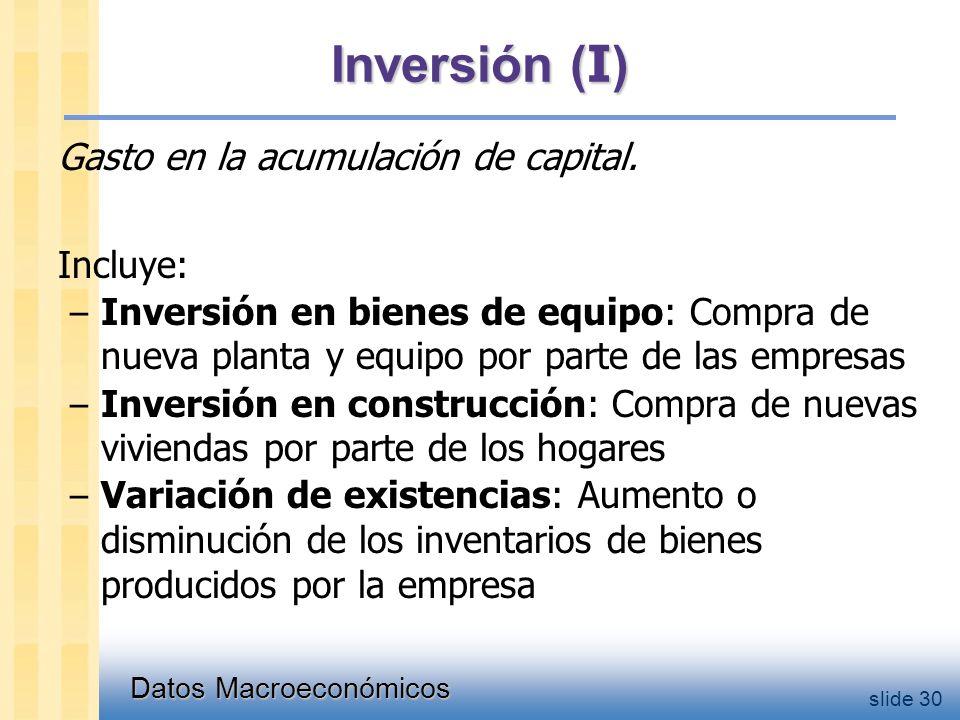 Datos Macroeconómicos slide 30 Inversión ( I ) Gasto en la acumulación de capital.