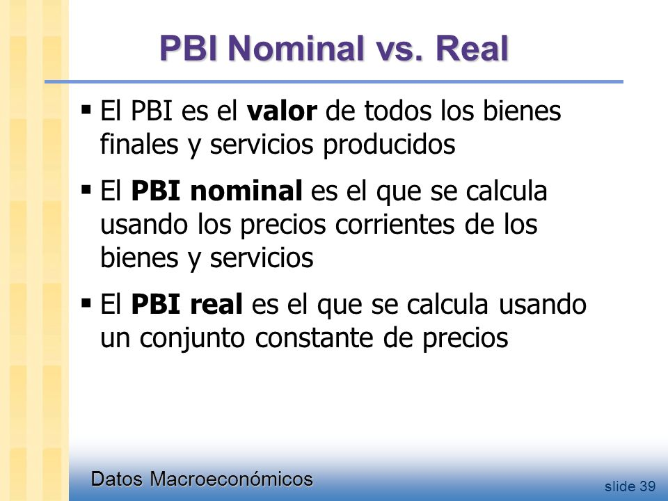 Datos Macroeconómicos slide 39 PBI Nominal vs.