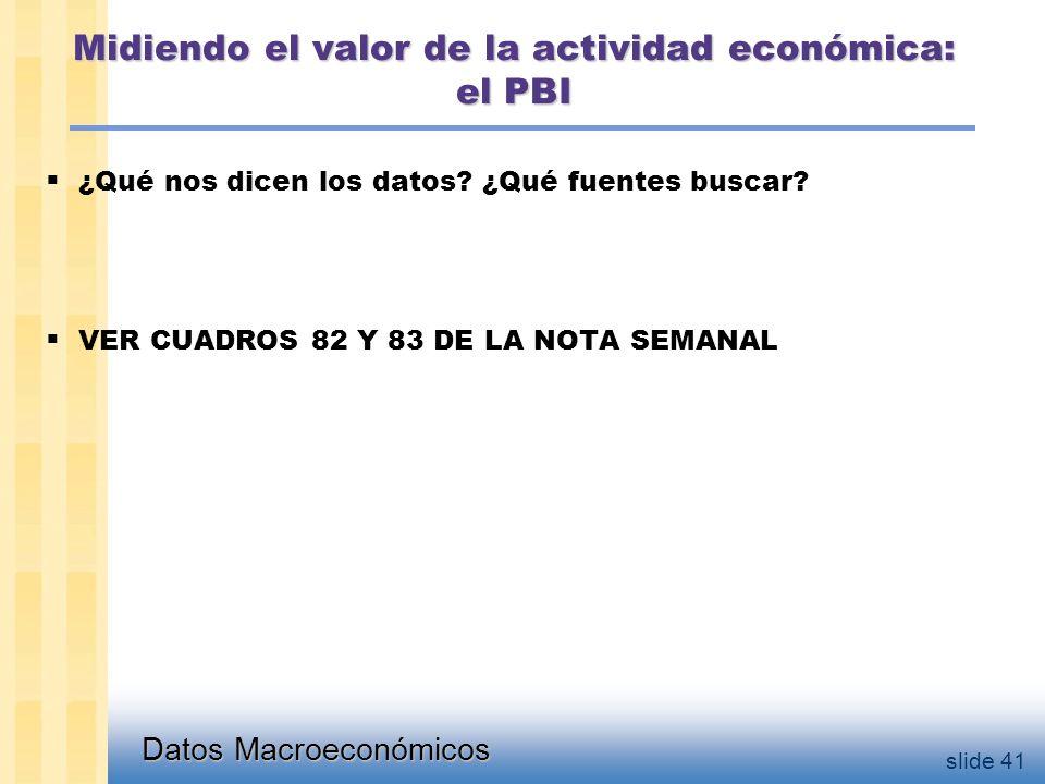 Datos Macroeconómicos slide 41 Midiendo el valor de la actividad económica: el PBI  ¿Qué nos dicen los datos.